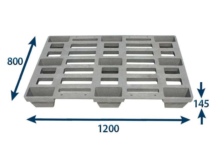 Paleta plastová 1200x800x145 - nosnost 1000 kg