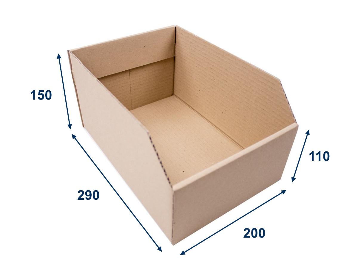 Regálový zásobník 200x290x150 3VVL kartonový - 25 ks