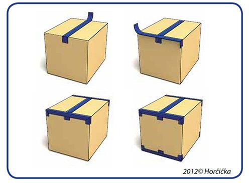 Správné zalepení krabice lepicí páskou do tvaru písmene H